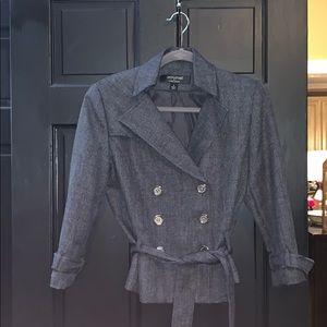 Larry Levine gray military style blazer jacket 6